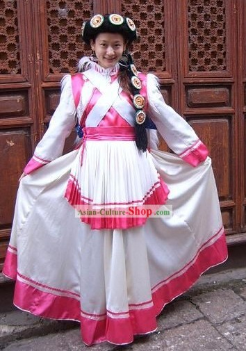 Chinese Naxi Minority Dress and Hat Complete Set