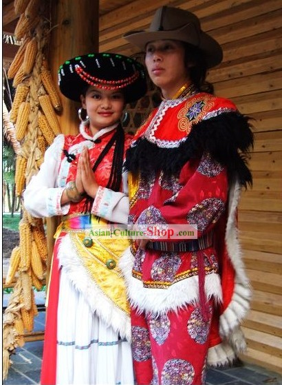 Chinese Pumi Minority Dress 2 Sets for Men and Women