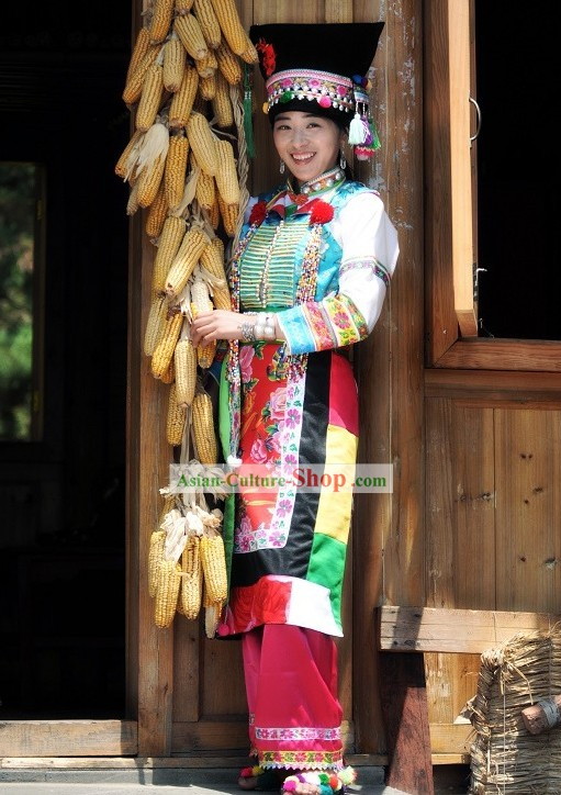 Blang/Bulang Nationality Dress and Hat Complete Set