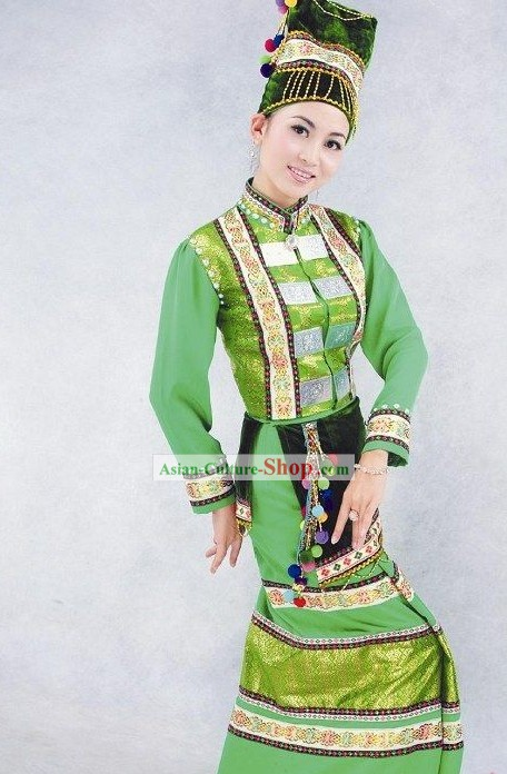 China Achang Minority Dress and Hat Complete Set