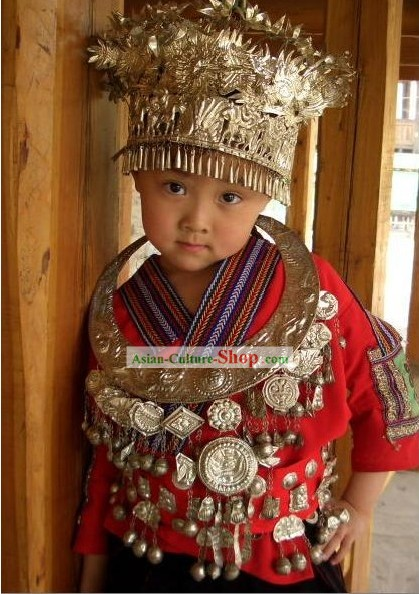Miao Clothes and Silver Miao Headgear for Children