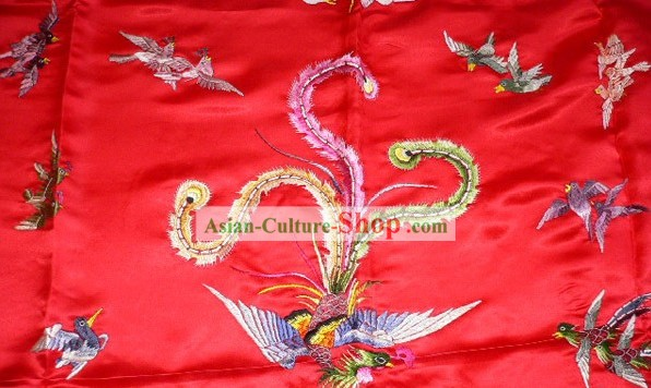 Chinese Traditional Silk Wedding Bedcover - Hundreds of Birds Worshiping Phoenix