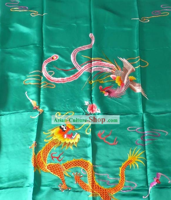 Chinese Hand Embroidery Silk Bedcover - Dragon and Phoenix