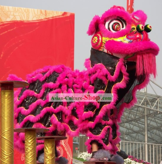 Happy Celebration Supreme Chinese FUT SAN Lion Dance Costumes Complete Set (peachblow and black)