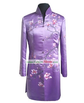 Traditional Hands Embroidered Magnolia Silk Long Coat
