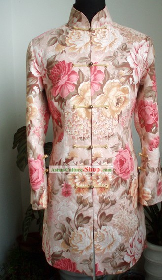 Traditional Mandarin Handmade Flowery Long Coat