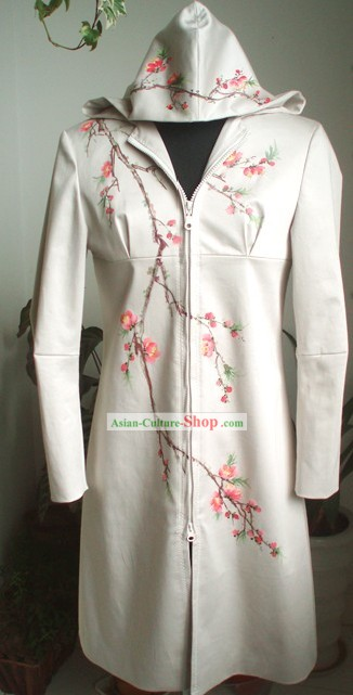 Traditional Mandarin Handmade Plum Blossom Dust Coat