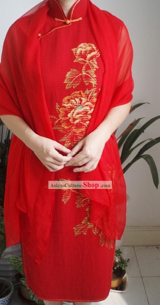 Traditional Mandarin Handmade and Painted Peony Silk Cheongsam