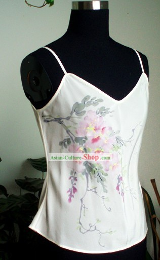Traditional Mandarin Handmade and Painted Wistaria Silk Sun-top