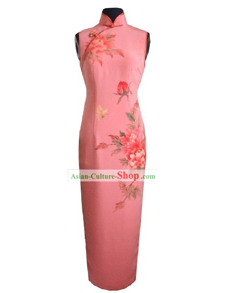 Traditional Handmade and Painted Large Peony Long Silk Cheongsam