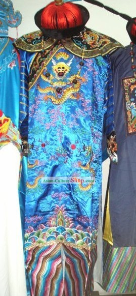 Chinese Qing Dynasty Official Costume and Hat Complete Set