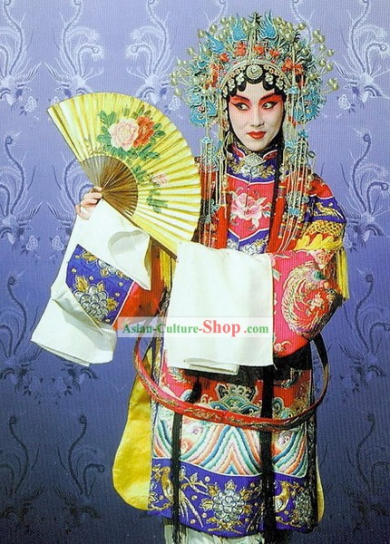 Traditional Beijing Opera Costume and Phoenix Crown Complete Set