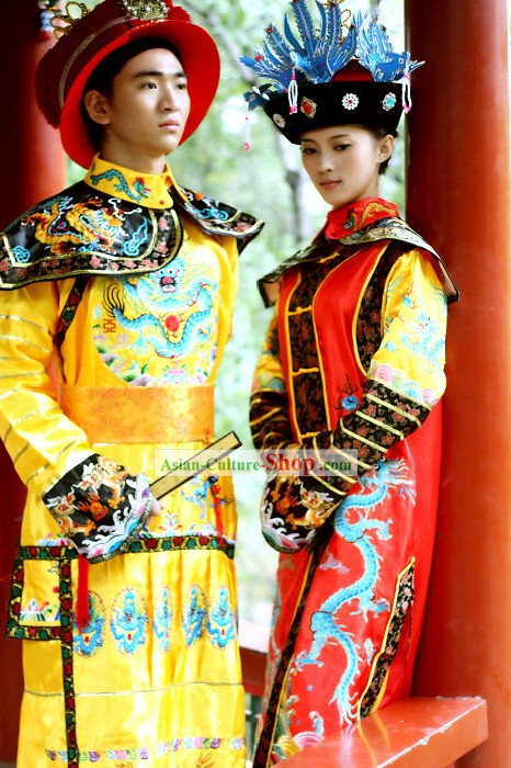 Ancient Chinese Emperor Costumes and Hat Complete Set