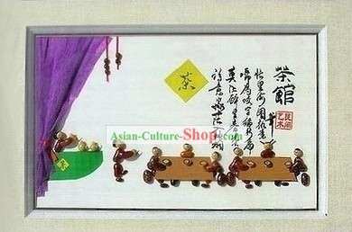 Chinese Traditional Bean Painting Arts and Crafts - Teahouse