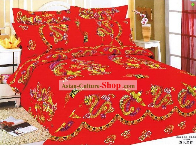 Chinese Stunning Cotton Wedding Bed Sheet Set(Four Pieces)- Dragons