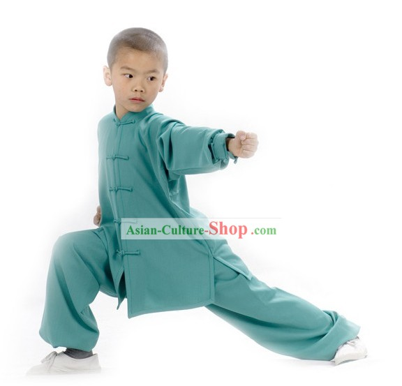 Chinese Professional Flax Long Sleeve Martial Arts Tai Chi Uniform Complete Set for Children