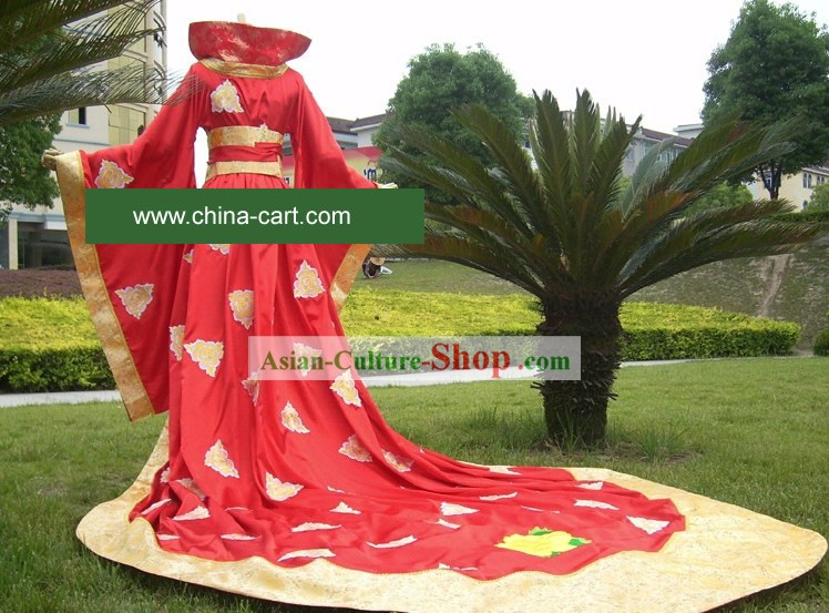 Supreme Chinese Stunning Made to Order Lucky Red Long Wedding Dress