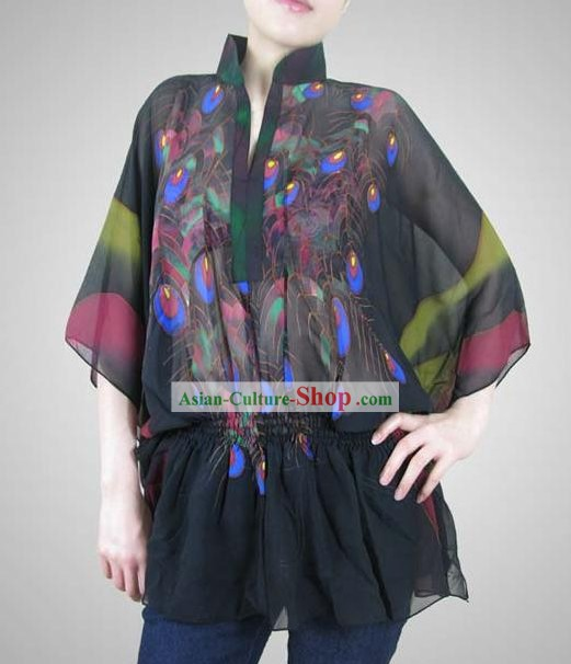 Classical Peacock Original Painting Silk Blouse