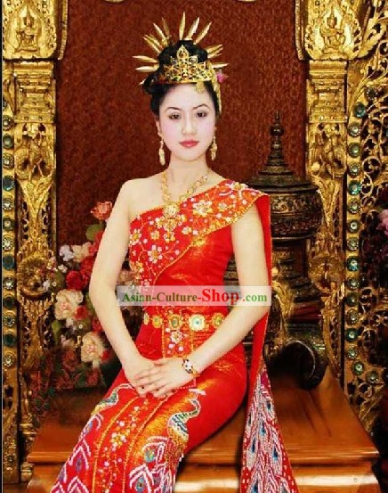 Stunning Traditional Thailand Dress and Hair Decoration Complete Set