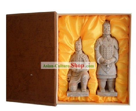 Chinese Xian Terra-cotta Figures Two Statues Set