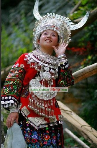 Miao Embroidery Traditional Clothes and Miao Silver Jewelry Complete Set