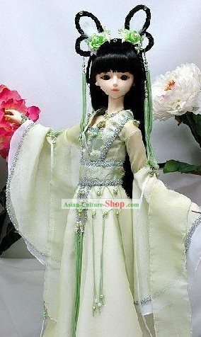 Chinese Ancient Beauty Light Green Clothing Complete Set