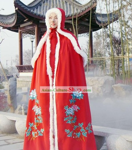 Chinese Classic Lucky Red Long Tail Cape for Women