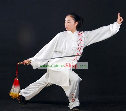 Plum Blossom Embroidery Martial Arts White Tai Chi Chuan Uniform