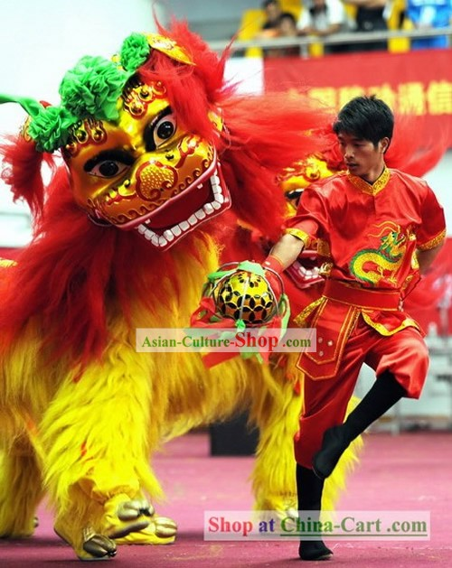 Beijing Olympic Games Opening Ceremony Lion Dance Costumes and Dancer Uniform Complete Set