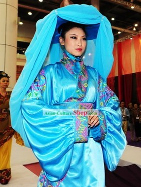 Chinese Ancient Beauty Costume and Hat Complete Set