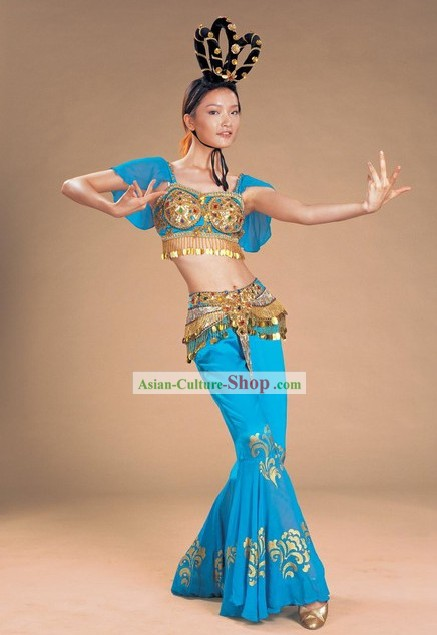 Chinese Ancient Blue Palace Dance Costume and Headpiece Complete Set