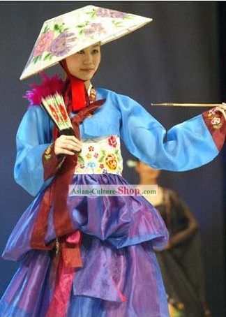 Traditional Korean Dance Costume and Fan Set