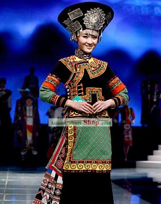 Chinese Traditional Yi Minority Dance Costumes and Hat Complete Set