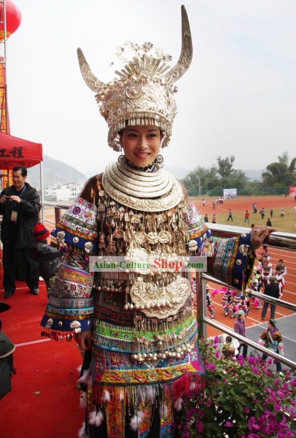 Traditional Miao Minority Long Costumes, Helmet and Necklace Complete Set for Women