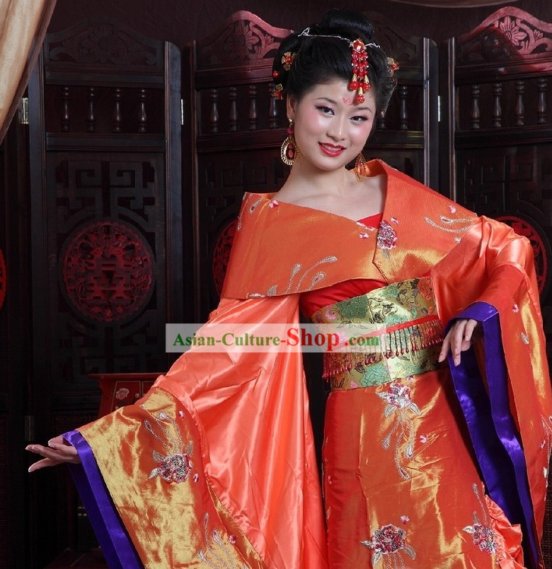 Chinese Tang Empress Clothing and Hair Accessories Complete Set