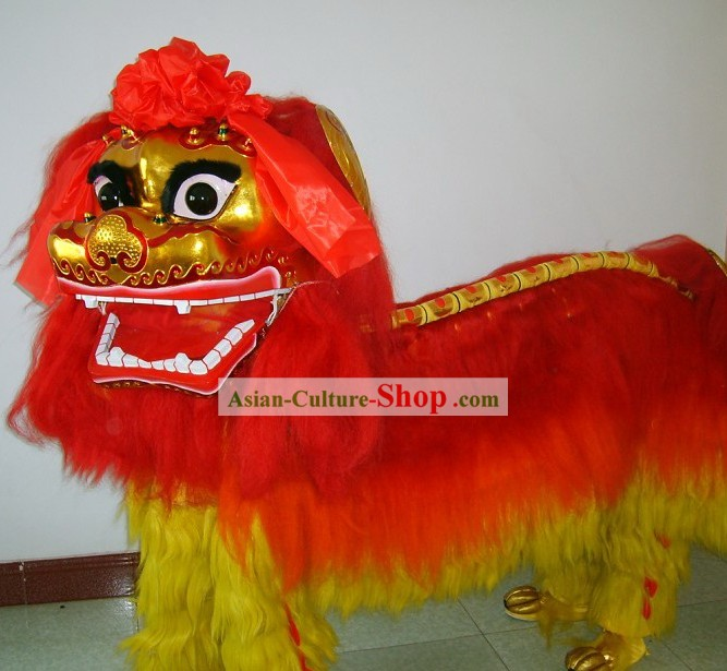 Supreme Traditional Beijing Long Yak Fur Lion Dance Costumes Complete Set