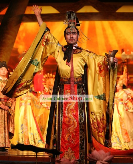 Chinese Ancient Emperor Costume and Hat Complete Set