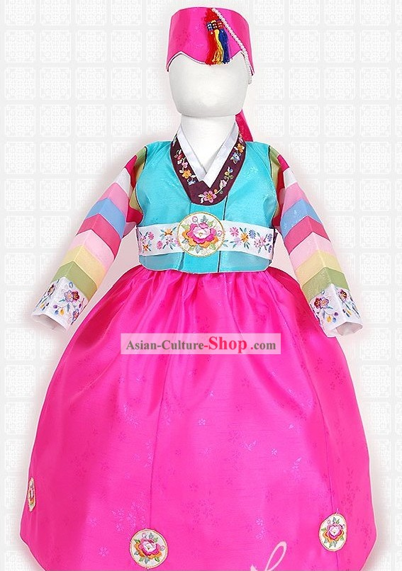 Traditional Korean Birthday Hanbok Set for Girls