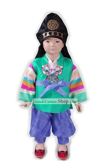 Traditional Korean Boy Hanbok and Hat Set