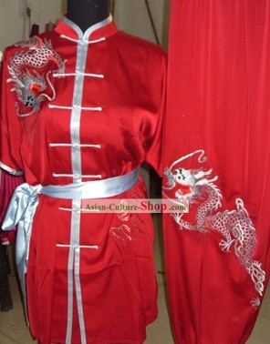 Chinese Embroidered Dragon Wushu Competition Suit