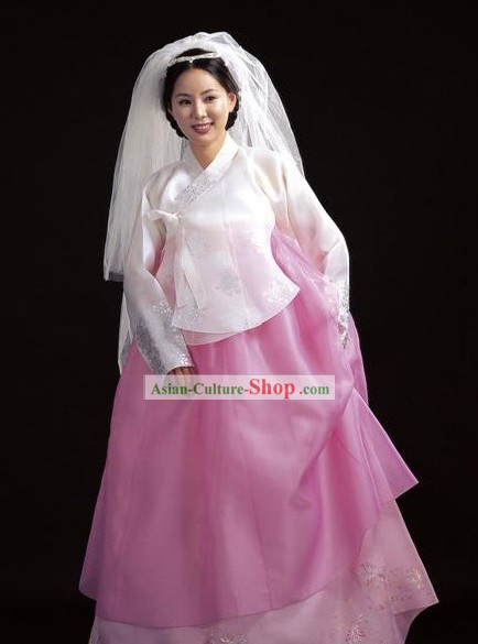 Korean White Wedding Hanbok Set for Bride