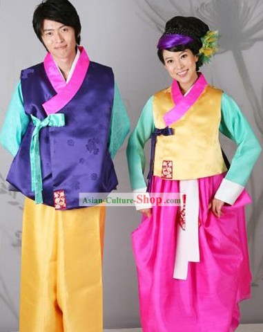Traditional Korean Hanbok Wedding Dress for Bride and Bridegroom