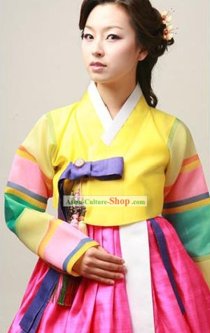 Supreme Korean Traditional Seven Colors Dress and Hanbok Complete Set for Women