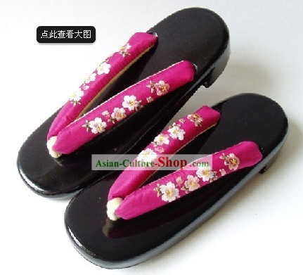 Traditional Japanese Oriental Cherry Geta Set for Women
