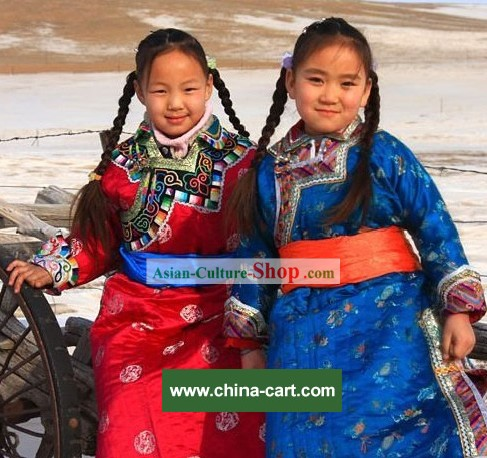 Mongolian Dance Costumes and Hat Complete Set for Children