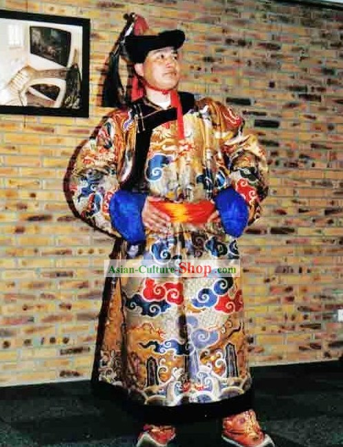 Chinese Classical Mongolian Clothing and Hat for Men