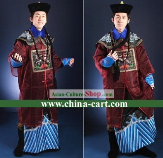 Qing Dynasty Official Clothing and Hat Complete Set