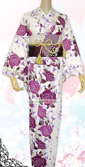 Japanese Kimono Dress Belt Geta and Socks Complete Set