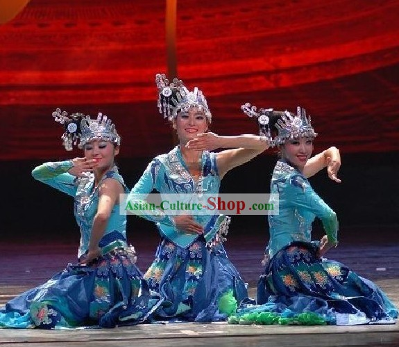 Traditional Chinese Miao Costume and Silver Hat Set