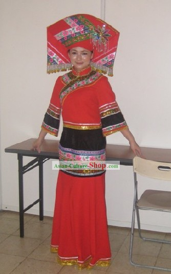 Chinese Folk Zhuang Minority Costume Complete Set